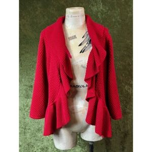 🍌 Ruby Rd. red fluttery cardigan sweater